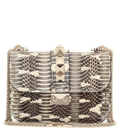 valentino female valentino garavani lock small snakeskin shoulder bag