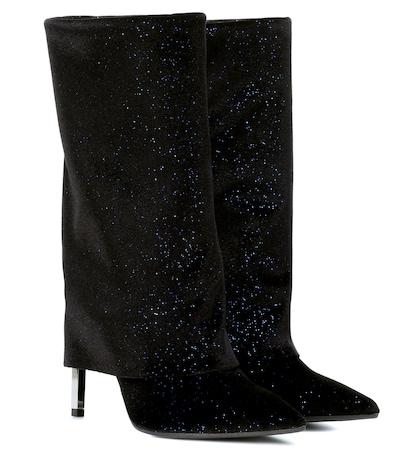 Babette metallic velvet boots