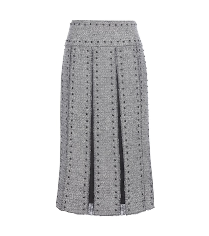 Embellished wool and lace skirt