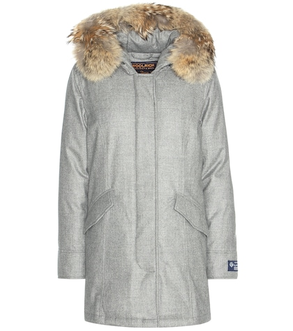Arctic fur-trimmed virgin wool and cashmere parka
