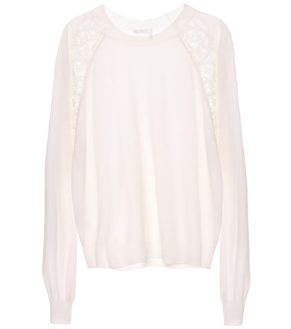 Lace-panelled wool sweater
