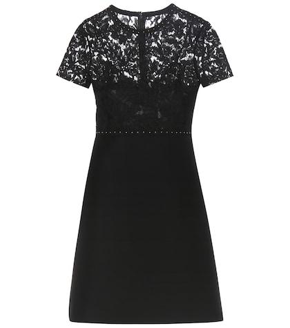 Embellished Wool And Silk Mini Dress