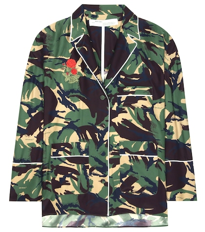 Camouflage Printed Silk Blouse