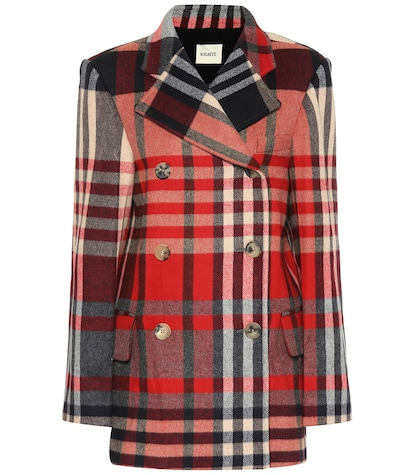 Manteau en laine et cachemire à carreaux Clara