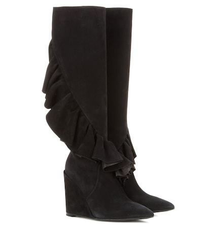 jw anderson female ruffled suede kneehigh wedge boots