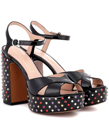 marc jacobs female embellished pantent leather sandals