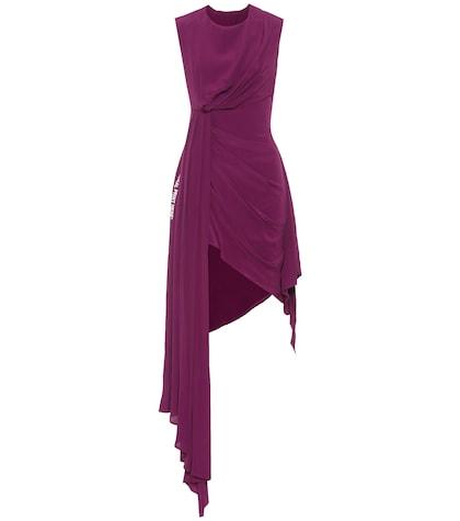 Asymmetric silk-blend dress