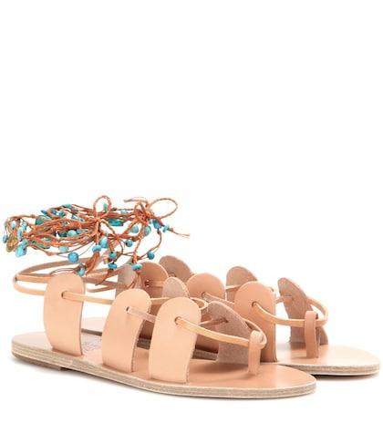 ancient greek sandals female amaryllis embellished leather sandals