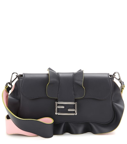 fendi female baguette ruffled leather shoulder bag