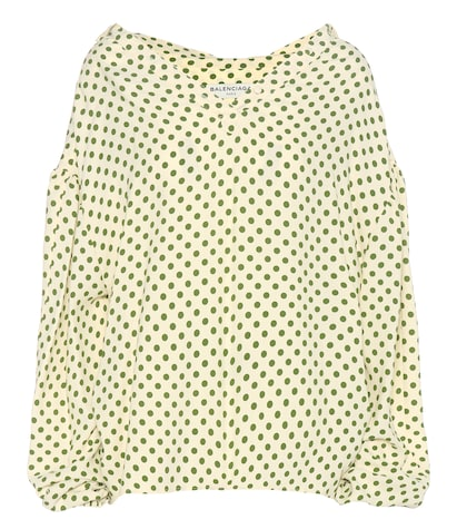 Swing Collar Polka-dot Crêpe Blouse