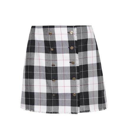 Plaid wool-blend miniskirt