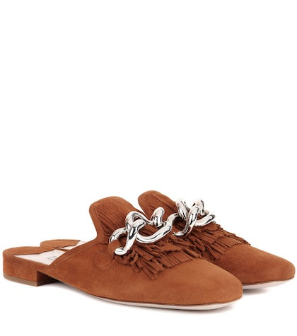 miu miu female suede slipon mules