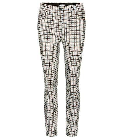 Plaid corduroy trousers