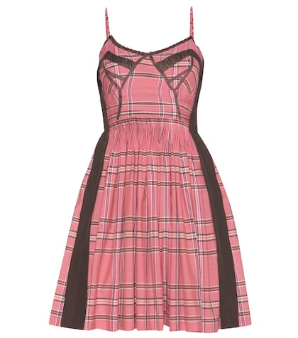 Lace-trimmed Check Cotton Dress
