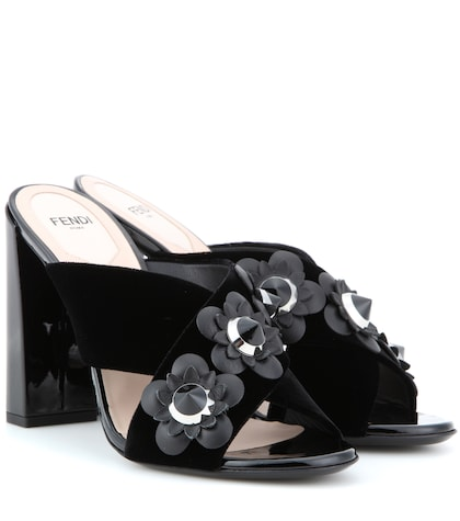 fendi female embellished velvet sandals