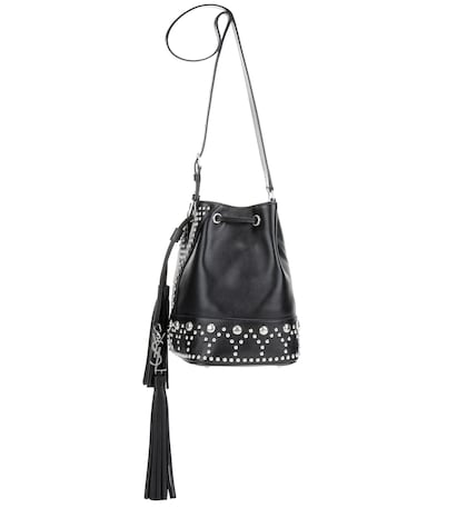 saint laurent female small y leather bucket bag