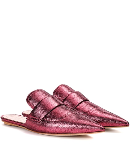 Metallic leather slippers