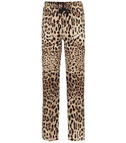 Leopard-printed silk pants