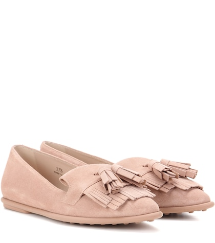 tods female ballerina suede loafers