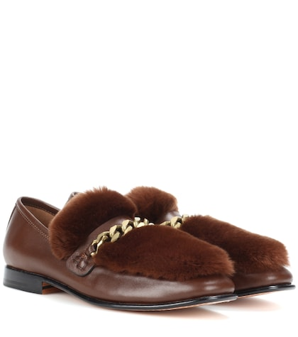 Loafur leather and fur loafers