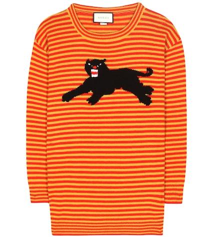 Striped wool sweater.