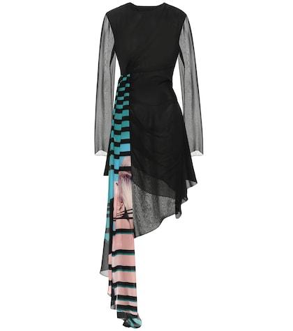 Printed silk-chiffon dress