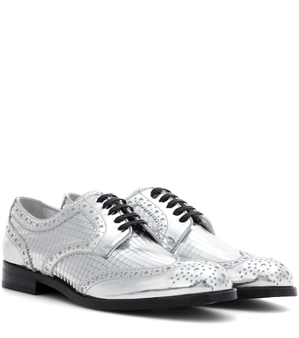 Metallic Leather Derby Shoes