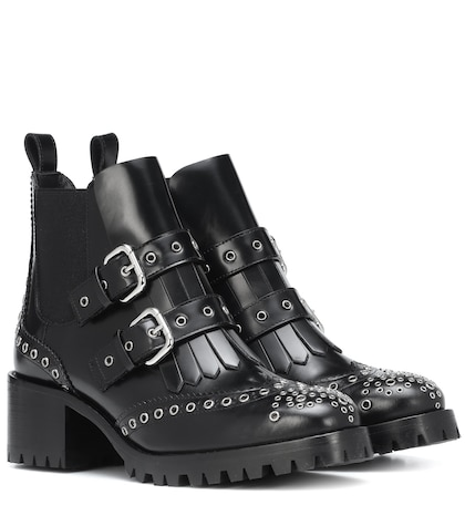 RED (V) studded leather ankle boots