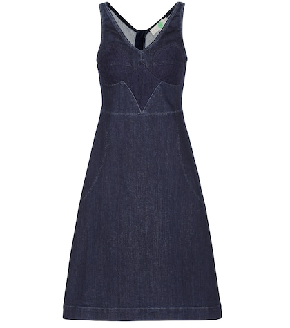 Lace-trimmed Denim Dress