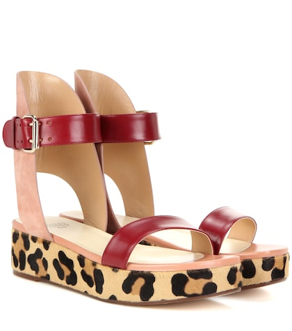 Leather, suede and calf hair sandals