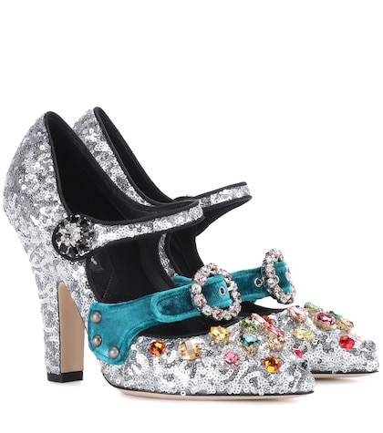 Embellished sequinned pumps