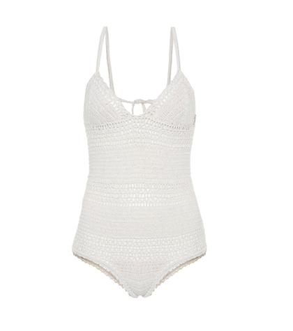 Crochet-knit one-piece swimsuit