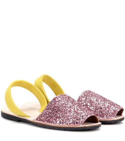 Glitter and suede sandals