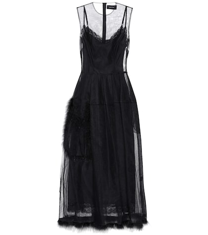 Feather-trimmed tulle dress