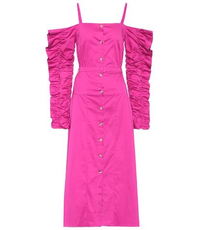 Robe en coton stretch à volants et encolure bardot