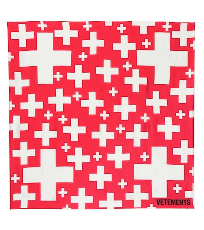 Swiss cross silk scarf