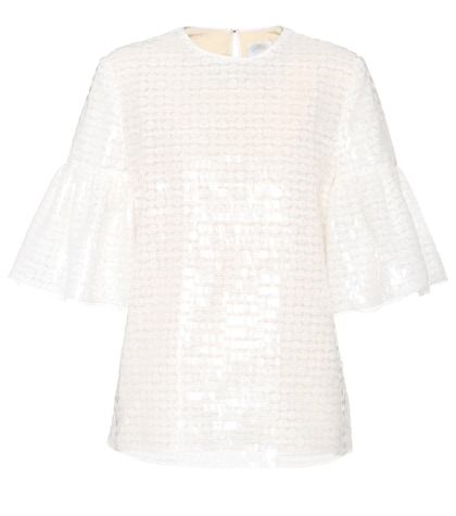 White sequin-embellished top