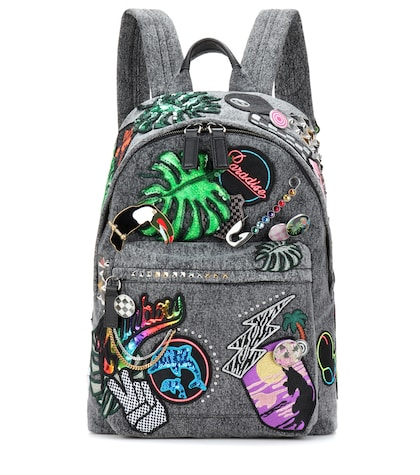 marc jacobs female paradise biker denim applique backpack