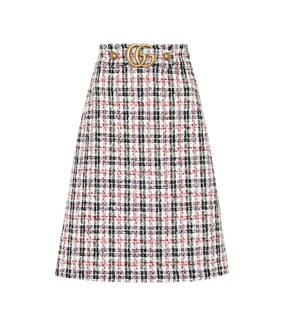 Plaid cotton-blend tweed skirt