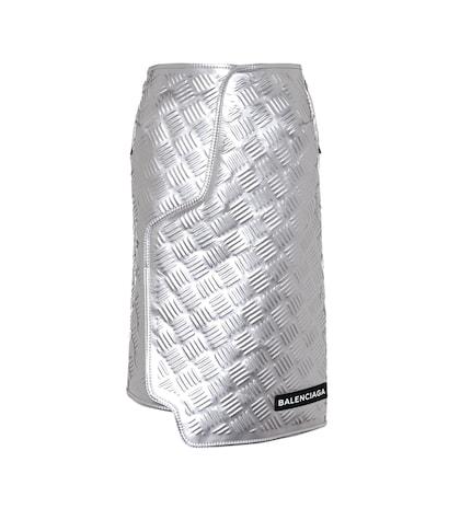 Embossed metallic leather skirt
