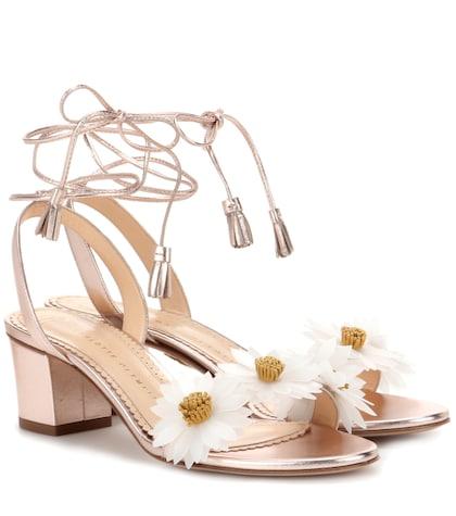 Tara Embellished Metallic Leather Sandals