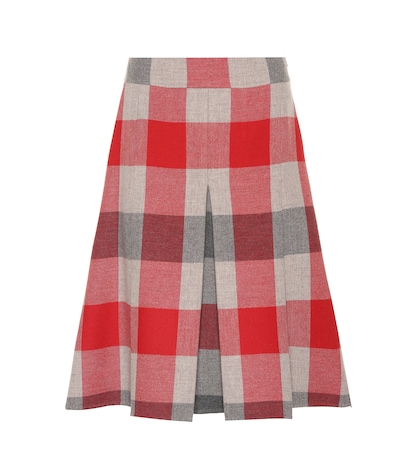 Checked wool and cashmere skirt