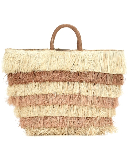Pinata Striped Straw Tote