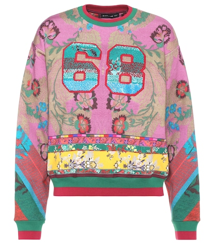 Printed cotton sweater
