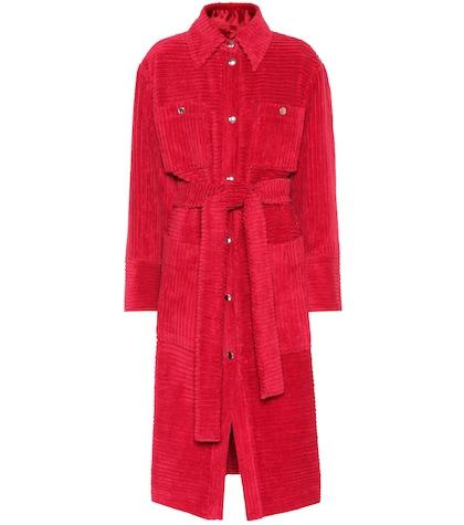 Corduroy cotton trench coat