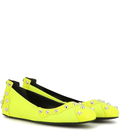 balenciaga female embellished leather ballerinas