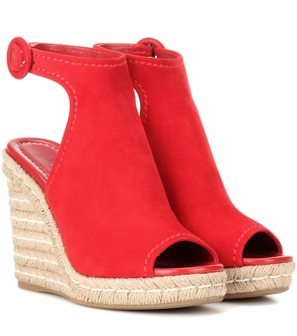 Suede and jute wedges