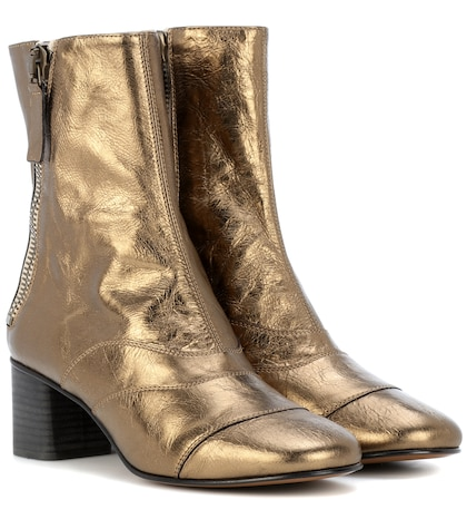 Lexie metallic leather ankle boots