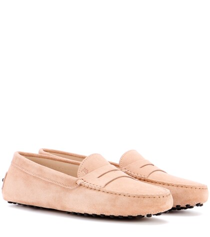 tods female suede loafers
