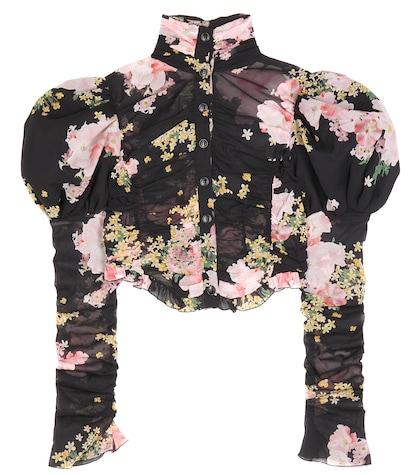 alessandra rich female floralprinted silk top